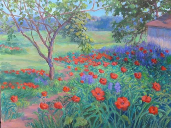 "Poppy Garden: Desoto - 24"" x 30"""